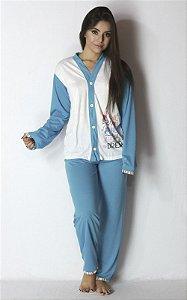 Pijama Longo Aberto de Botão
