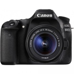 Câmera Canon EOS 80D com Lente 18-55mm f/3.5-5.6 IS STM