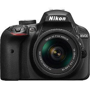 Câmera Nikon DX D3400 com Lente AF-S DX 18-55mm f/3.5-5.6G VR