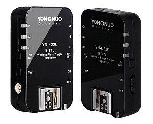 Radio Flash Yongnuo e-TTL com 2 unidades modelo YN-622C para Canon