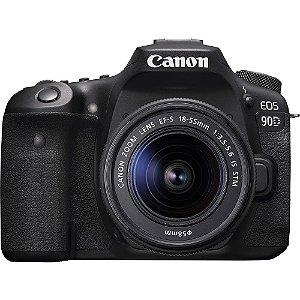 Câmera Canon EOS 90D com Lente EF-S 18-55mm f/3.5-5.6 IS STM