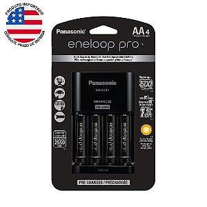 Carregador de Pilha Recarregável Panasonic Eneloop Pro com 4 pilhas AA 2550mAh