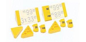 """Ponteira Dupla para Displays de Mesa + Palavras """"DE"""" e """"POR"""" (60 peças) - Amarelo com preto"""