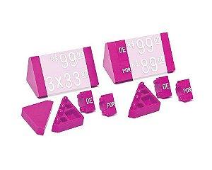 """Ponteira Dupla para Displays de Mesa + Palavras """"DE"""" e """"POR"""" (60 peças) - Pink com Branco"""