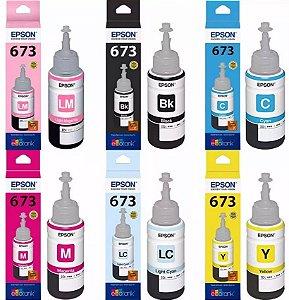 Kit Refil Tinta com 06 Cores Original Epson P/ Impressoras L800 L805 L810 L1800