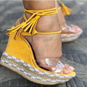 Sandália AnaBella Nova Coleção Corda Salto Alto Amarela 36