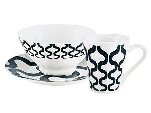 Jogo de Café da Manhã 3 Peças Porcelana