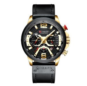 Relógio Curren Black Luxo Masculino pulseira Couro