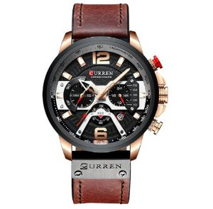 Relógio Curren Rose Black Brown Luxo Masculino pulseira