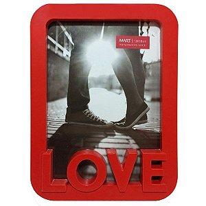 Porta Retrato Love Vermelho Mart 18 cm altura e 13 cm largura
