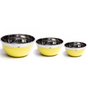 Kit 02 Bowls Inox Médio Dasshaus Color Yellow 18 22 e 24 Cm Importado