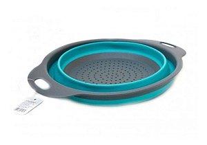 Escorredor De Alimentos Retrátil Multiuso Silicone Azul Importado