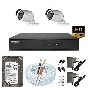 Kit CFTV Hikvision 02 Câmeras DS-2CE16C0T e DVR de 04 Canais DS-7204