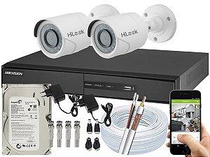 Kit CFTV Hikvision 02 Câmeras THC-B110C-P e DVR de 04 Canais DS-7204