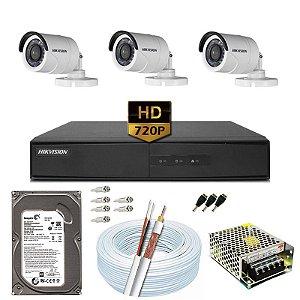 Kit CFTV Hikvision 03 Câmeras DS-2CE16C0T e DVR de 04 Canais DS-7204