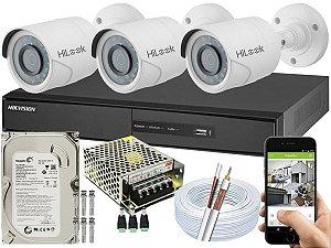 Kit CFTV Hikvision 03 Câmeras THC-B110C-P e DVR de 04 Canais DS-7204
