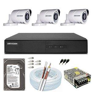 Kit CFTV Hikvision 03 Câmeras THC-B120C-P e DVR de 04 Canais DS-7204