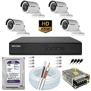 Kit CFTV Hikvision 04 Câmeras DS-2CE16C0T e DVR de 04 Canais DS-7204 1TB WD Purple
