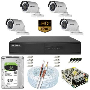 Kit CFTV Hikvision 04 Câmeras DS-2CE16C0T e DVR de 08 Canais DS-7208