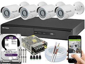 Kit CFTV Hikvision 04 Câmeras THC-B110C-P e DVR de 04 Canais DS-7204 1TB WD Purple