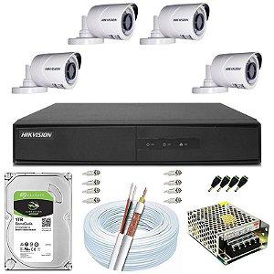 Kit CFTV Hikvision 04 Câmeras THC-B120C-P e DVR de 08 Canais DS-7208