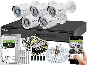 Kit CFTV Hikvision 05 Câmeras THC-B110C-P e DVR de 08 Canais DS-7208