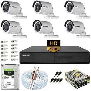 Kit CFTV Hikvision 06 Câmeras DS-2CE16C0T e DVR de 08 Canais DS-7208