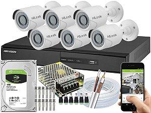 Kit CFTV Hikvision 06 Câmeras THC-B110C-P e DVR de 08 Canais DS-7208