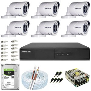 Kit CFTV Hikvision 06 Câmeras THC-B120C-P e DVR de 08 Canais DS-7208