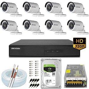 Kit CFTV Hikvision 08 Câmeras DS-2CE16C0T e DVR de 08 Canais DS-7208