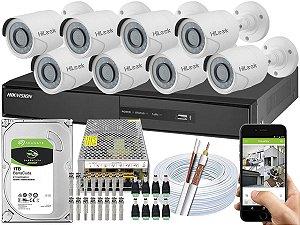 Kit CFTV Hikvision 08 Câmeras THC-B110C-P e DVR de 16 Canais DS-7216