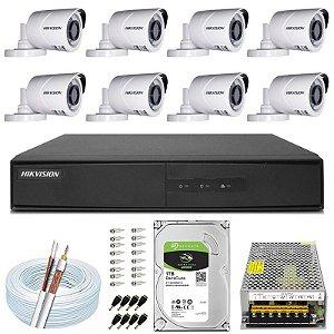 Kit CFTV Hikvision 08 Câmeras THC-B120C-P e DVR de 08 Canais DS-7208