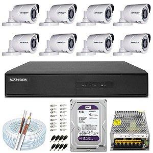 Kit CFTV Hikvision 08 Câmeras THC-B120C-P e DVR de 08 Canais DS-7208 1TB WD Purple