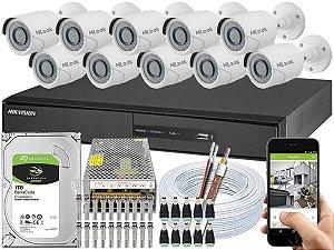 Kit CFTV Hikvision 10 Câmeras THC-B110C-P e DVR de 16 Canais DS-7216