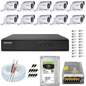 Kit CFTV Hikvision 10 Câmeras THC-B120C-P e DVR de 16 Canais DS-7216