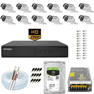 Kit CFTV Hikvision 12 Câmeras DS-2CE16C0T e DVR de 16 Canais DS-7216