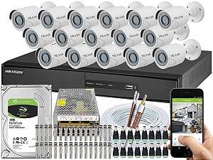 Kit CFTV Hikvision 16 Câmeras THC-B110C-P e DVR de 16 Canais DS-7216