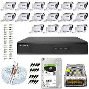 Kit CFTV Hikvision 16 Câmeras THC-B120C-P e DVR de 16 Canais DS-7216