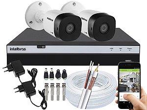 Kit CFTV Intelbras 02 Câmeras VHD 1010 B G5 e DVR de 04 Canais MHDX 3104 Sem HD