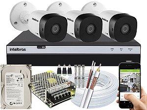 Kit CFTV Intelbras 03 Câmeras VHD 1010 B G5 e DVR de 04 Canais MHDX 3104