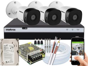 Kit CFTV Intelbras 03 Câmeras VHD 1120 B G5 e DVR de 04 Canais MHDX 3104