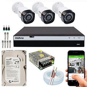 Kit CFTV Intelbras 03 Câmeras VHD 1220 B G4 e DVR de 04 Canais MHDX 3104