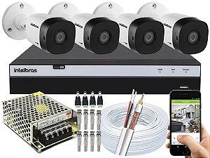 Kit CFTV Intelbras 04 Câmeras VHD 1010 B G5 e DVR de 04 Canais MHDX 3104 Sem HD