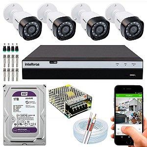 Kit CFTV Intelbras 04 Câmeras VHD 1220 B G4 e DVR de 04 Canais MHDX 3104 1TB WD Purple