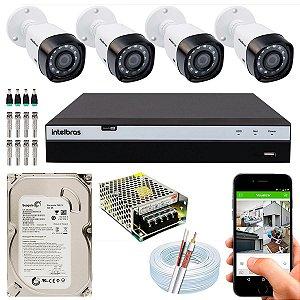 Kit CFTV Intelbras 04 Câmeras VHD 3130 B G4 e DVR de 04 Canais MHDX 3104 500GB