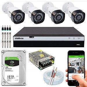 Kit CFTV Intelbras 04 Câmeras VHD 3230 B G4 e DVR de 04 Canais MHDX 3104