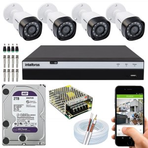 Kit CFTV Intelbras 04 Câmeras VHD 3230 B G4 e DVR de 04 Canais MHDX 3104 2TB WD Purple