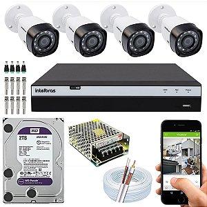 Kit CFTV Intelbras 04 Câmeras VHD 3230 B G4 e DVR de 08 Canais MHDX 3108 2TB WD Purple