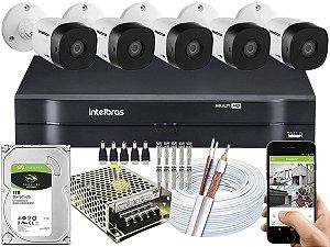 Kit CFTV Intelbras 05 Câmeras VHD 1120 B G5 e DVR de 08 Canais MHDX 1108