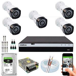 Kit CFTV Intelbras 05 Câmeras VHD 1220 B G4 e DVR de 08 Canais MHDX 3108